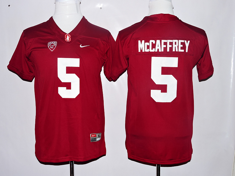 Stanford Cardinal 5 Christian McCaffrey Red Youth College Jersey