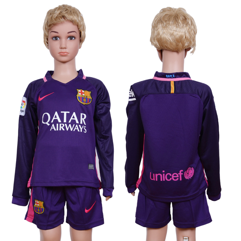 2016-17 Barcelona Away Youth Long Sleeve Soccer Jersey