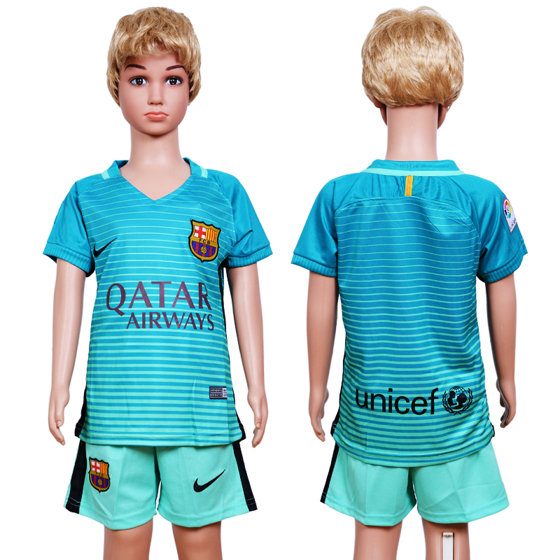 2016-17 Barcelona Third Away Youth Soccer Jersey