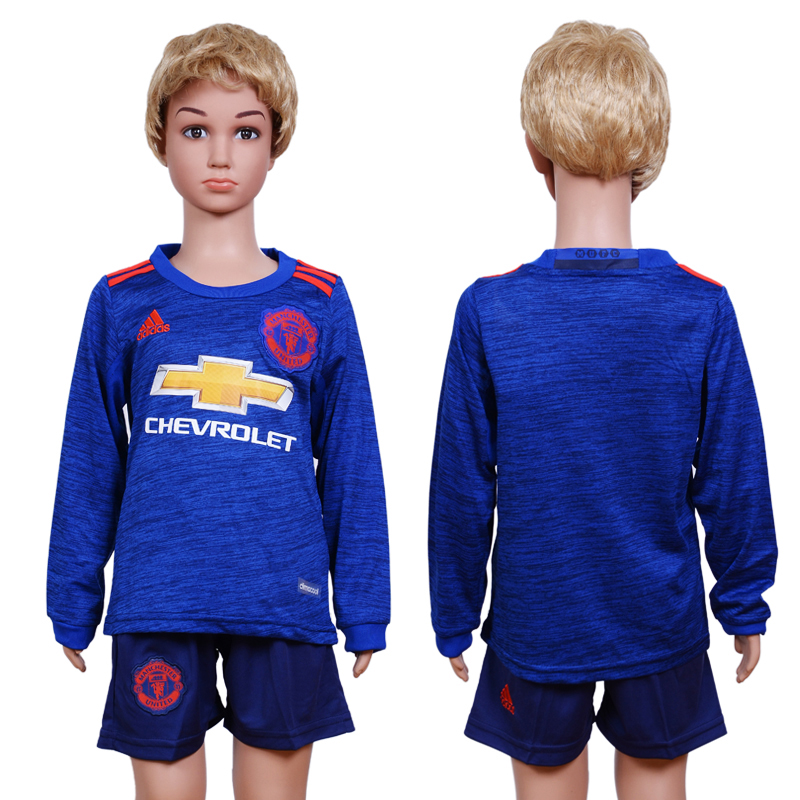 2016-17 Manchester United Away Youth Long Sleeve Soccer Jersey