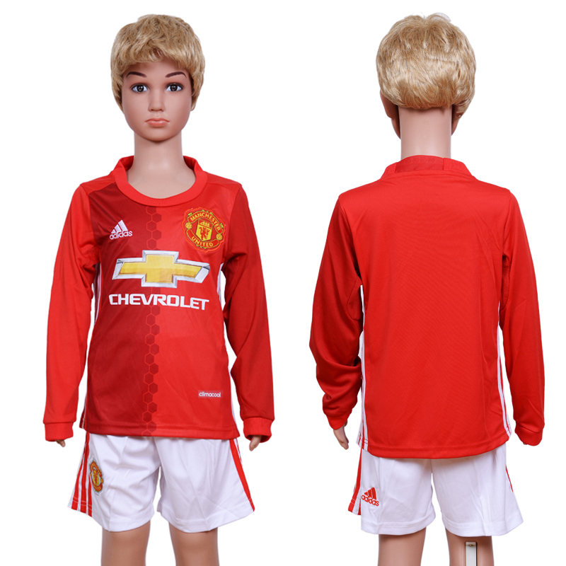 2016-17 Manchester United Home Youth Long Sleeve Soccer Jersey