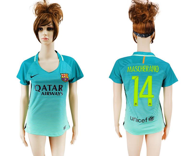 2016-17 Barcelona 14 MASCHERANO Third Away Women Soccer Jersey