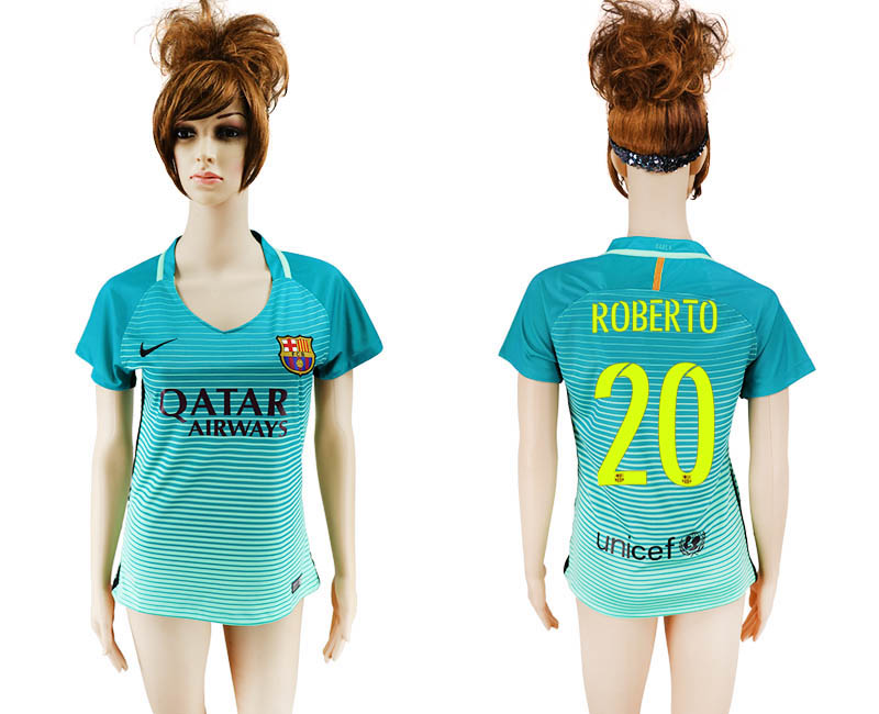 2016-17 Barcelona 20 ROBERTO Third Away Women Soccer Jersey