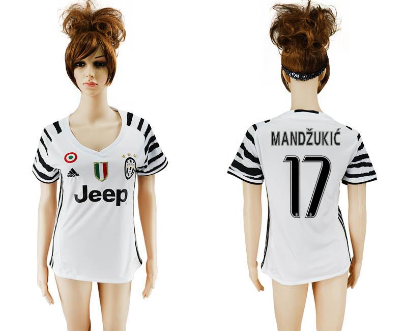 2016-17 Juventus 17 MANDZUKIC Third Away Women Soccer Jersey
