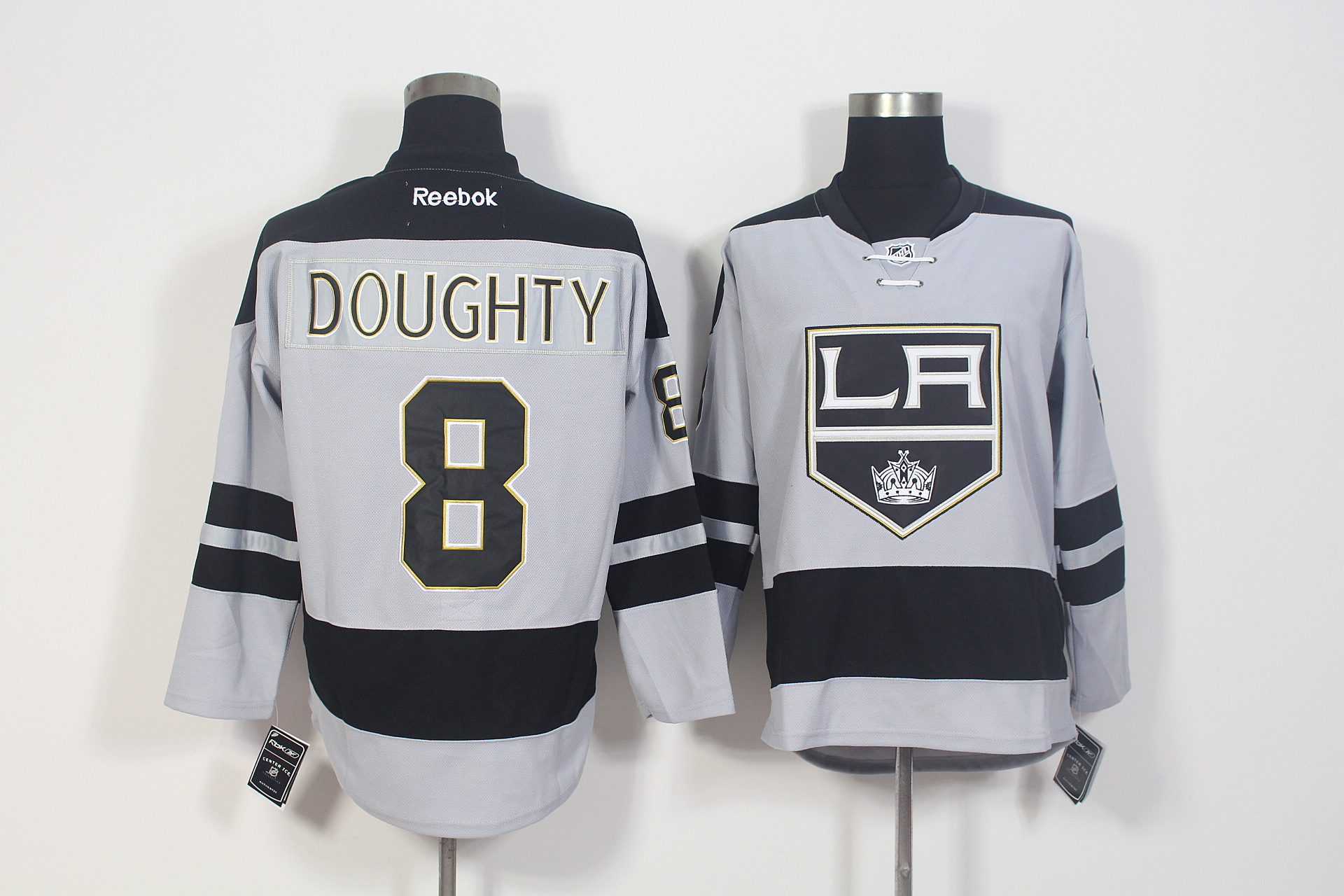 Kings 8 Drew Doughty Grey Alternate Premier Reebok Jersey