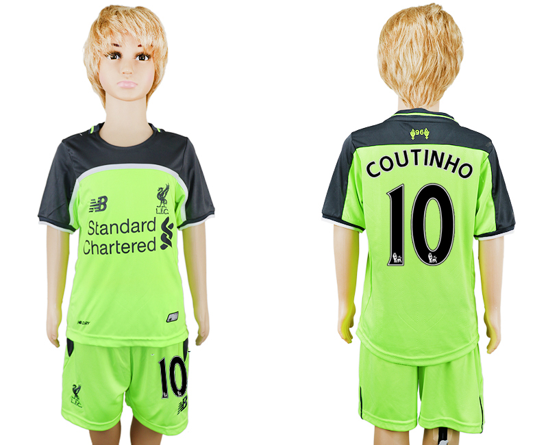 2016-17 Liverpool 10 COUTINHO Third Away Youth Soccer Jersey