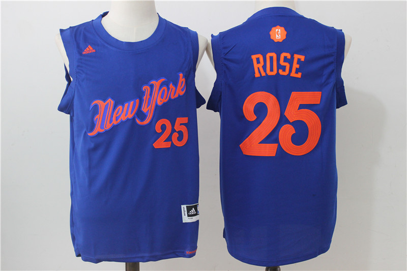 Knicks 25 Derrick Rose Royal 2016 Christmas Day Swingman Jersey