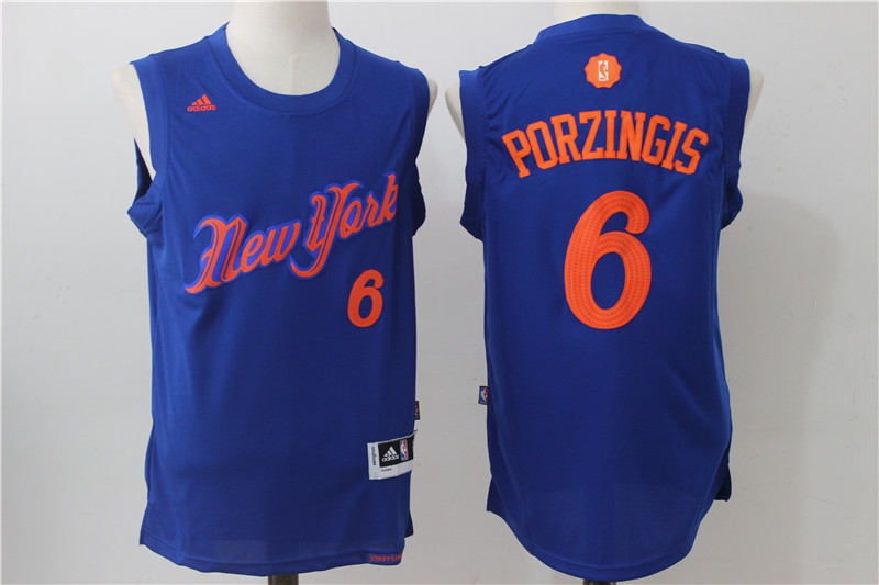 Knicks 6 Kristaps Porzingis Royal 2016 Christmas Day Swingman Jersey