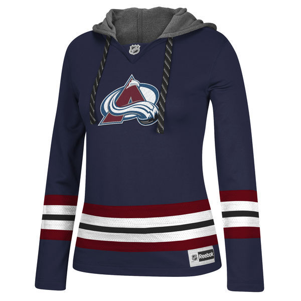 Colorado Avalanche Navy All Stitched Women's Hooded Sweatshirt