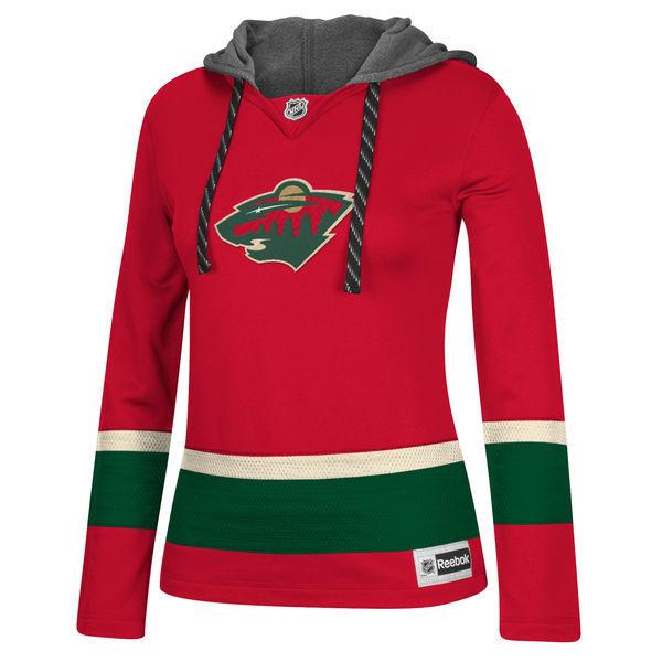 Minnesota Wild Red All Stitched Women's Hooded Sweatshirt