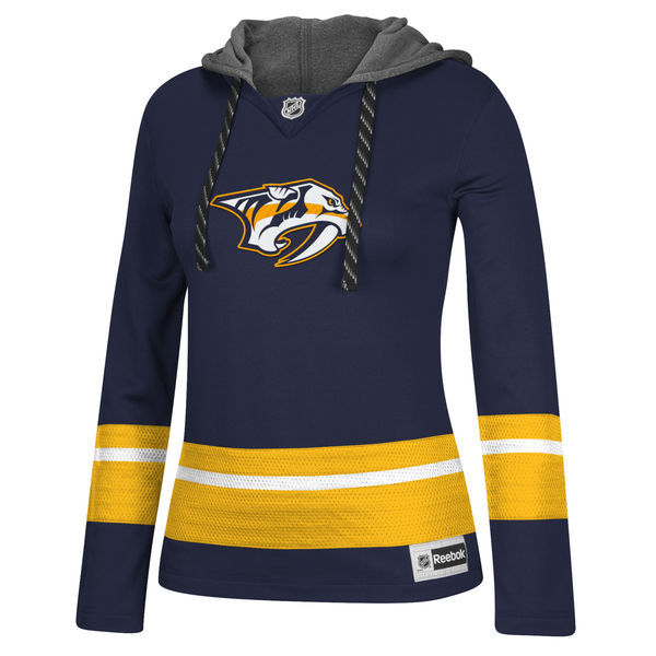 Nashville Predators Navy All Stitched Women's Hooded Sweatshirt