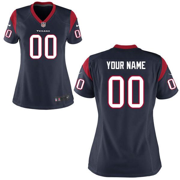 Nike Houston Texans Navy Women Game Customized Jersey