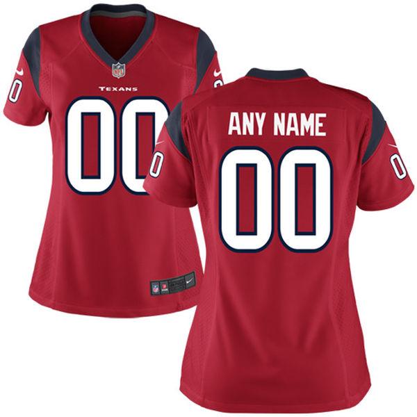 Nike Houston Texans Red Women Game Customized Jersey