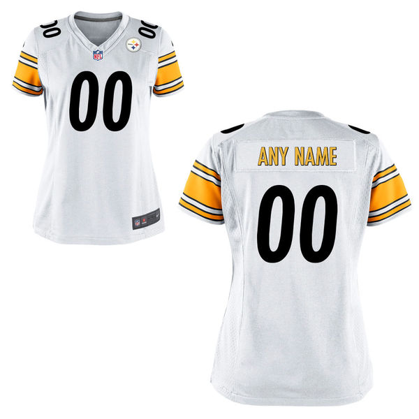 Nike Steelers White Women Game Customized Jersey