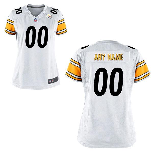 Nike Steelers White Women Game Customized Jersey