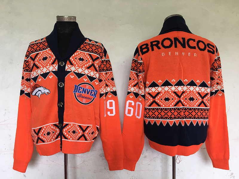 Denver Broncos NFL Adult Ugly Cardigan Sweater