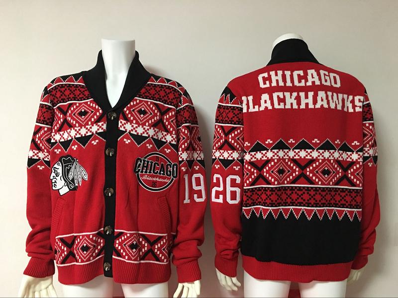 Chicago Blackhawks NHL Adult Ugly Cardigan Sweater