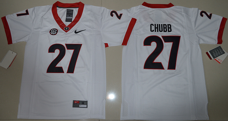 Georgia Bulldogs 27 Nick Chubb White Youth College Jersey
