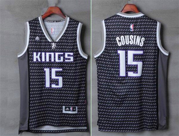 Kings 15 DeMarcus Cousins Black Swingman Jersey
