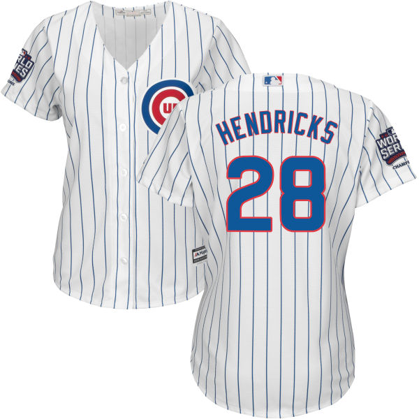 Cubs 28 Kyle Hendricks White 2016 World Series Women New Cool Base Jersey