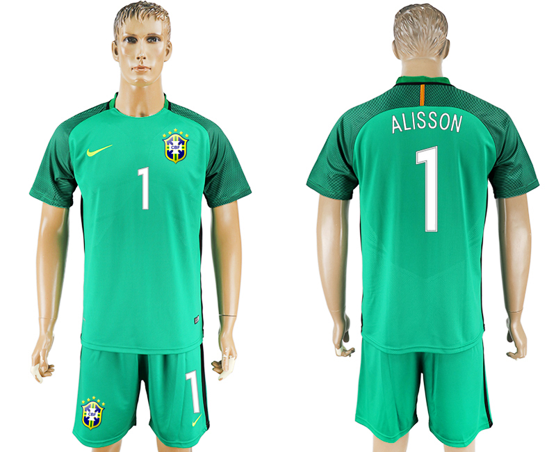 2016-17 Brazil 1 ALISSON Green Goalkeeper Soccer Jersey