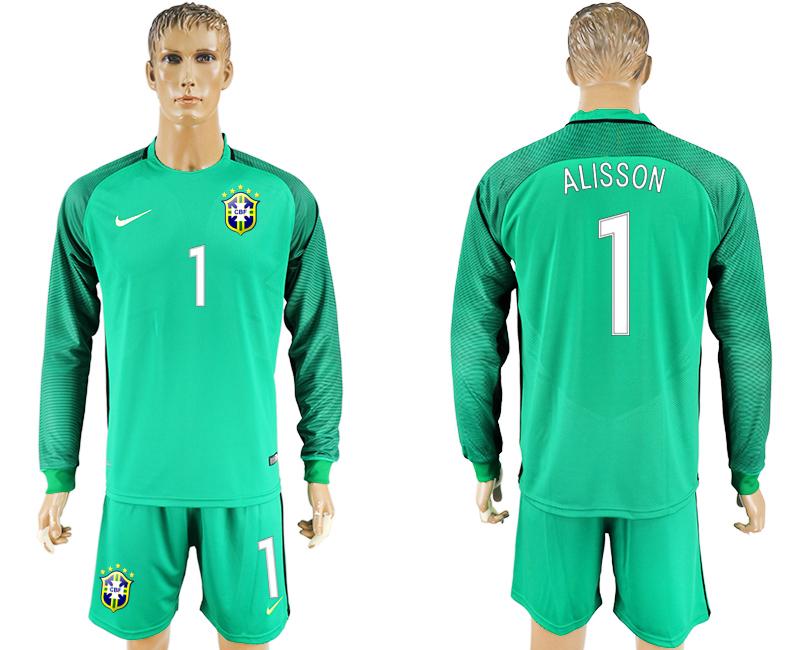 2016-17 Brazil 1 ALISSON Green Long Sleeve Goalkeeper Soccer Jersey