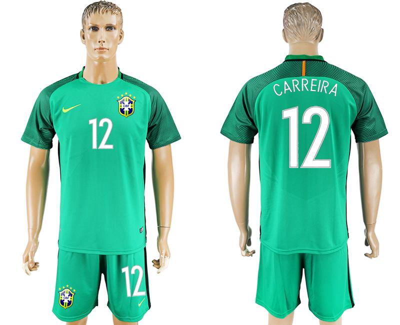 2016-17 Brazil 12 CARREIRA Green Goalkeeper Soccer Jersey
