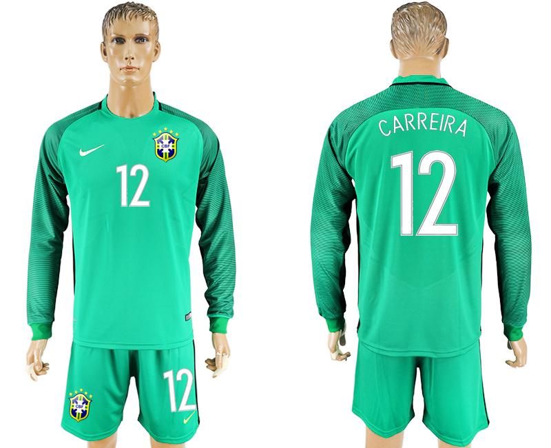 2016-17 Brazil 12 CARREIRA Green Long Sleeve Goalkeeper Soccer Jersey