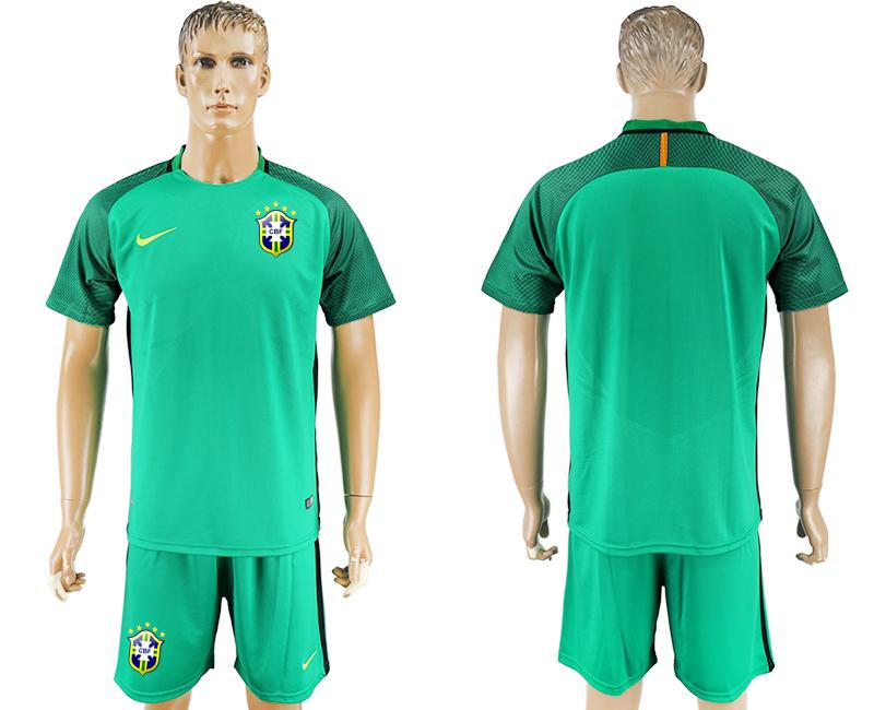 2016-17 Brazil Green Goalkeeper Soccer Jersey