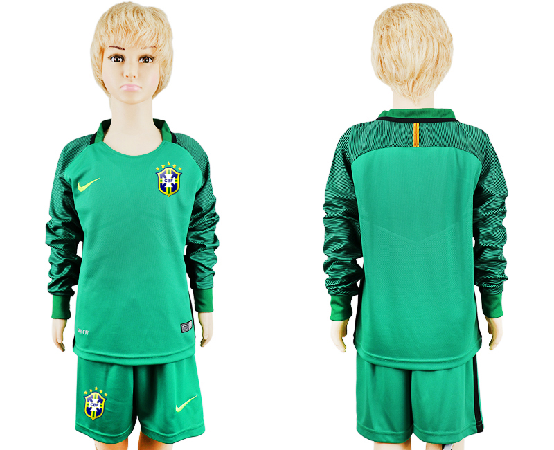 2016-17 Brazil Green Long Sleeve Youth Goalkeeper Soccer Jersey