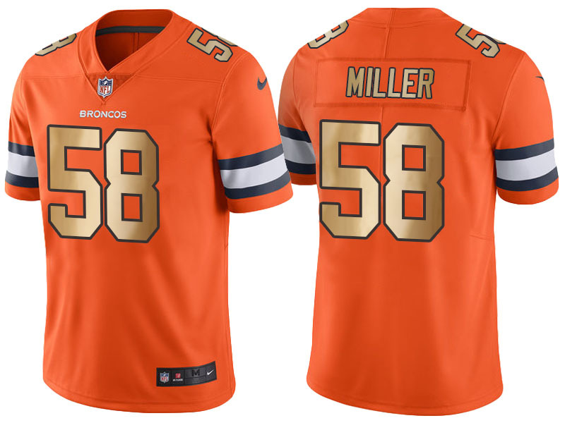 Nike Broncos 58 Von Miller Orange Gold Limited Jersey