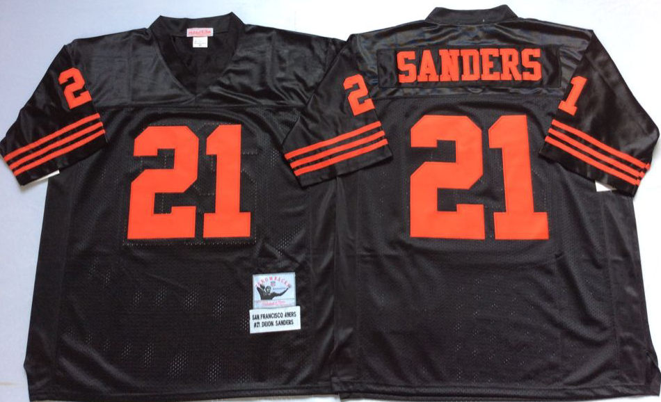 49ers 21 Deion Sanders Black Throwback Jersey