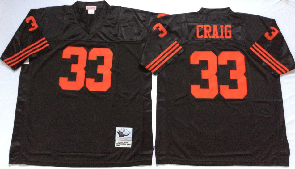 49ers 33 Roger Craig Black Throwback Jersey
