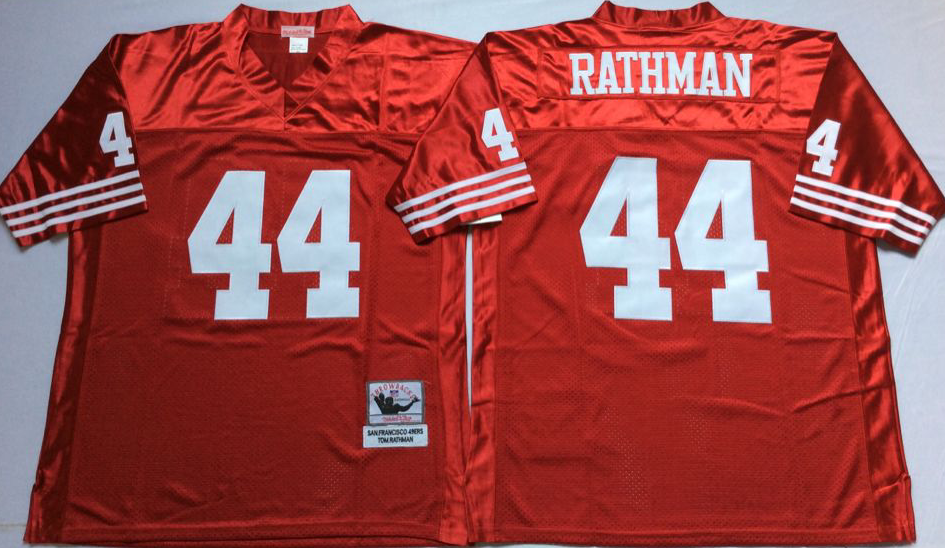 49ers 44 Tom Rathman Red Throwback Jersey