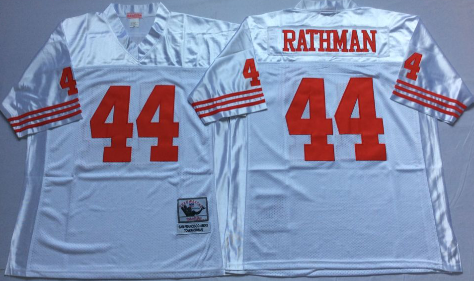 49ers 44 Tom Rathman White Throwback Jersey