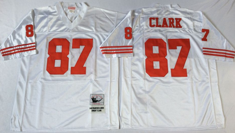 49ers 87 Dwight Clark White Throwback Jersey