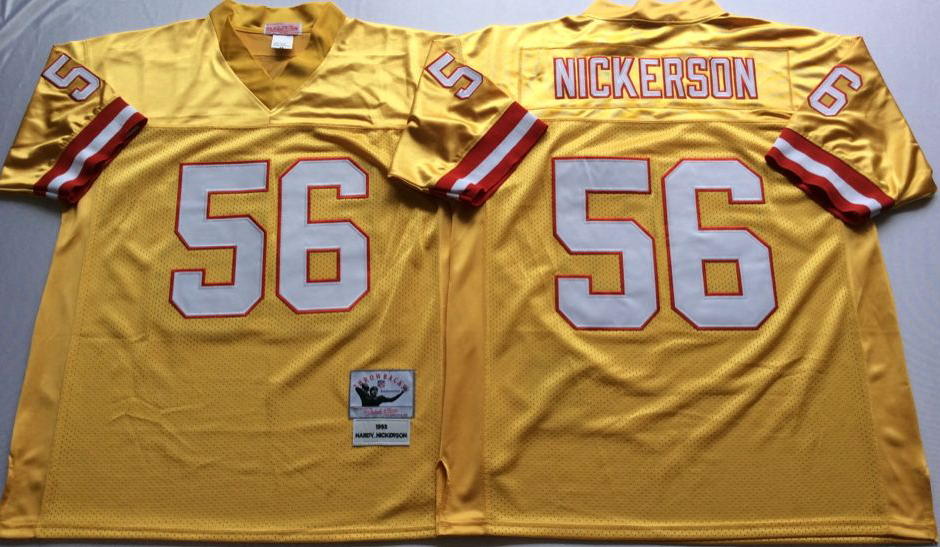 Buccaneers 56 Hardy Nickerson Yellow Throwback Jersey