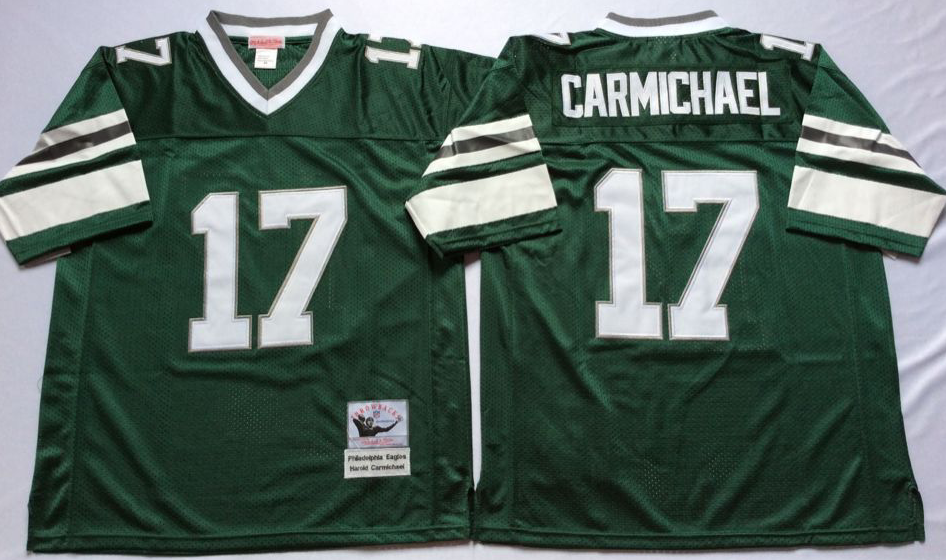 Eagles 17 Harold Carmichael Green Throwback Jersey