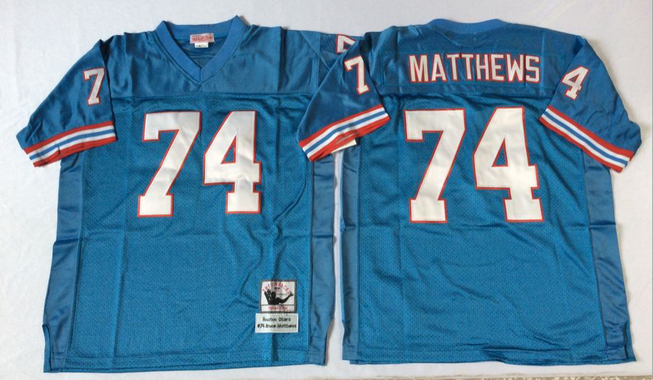 Oilers 74 Bruce Matthews Blue Throwback Jersey