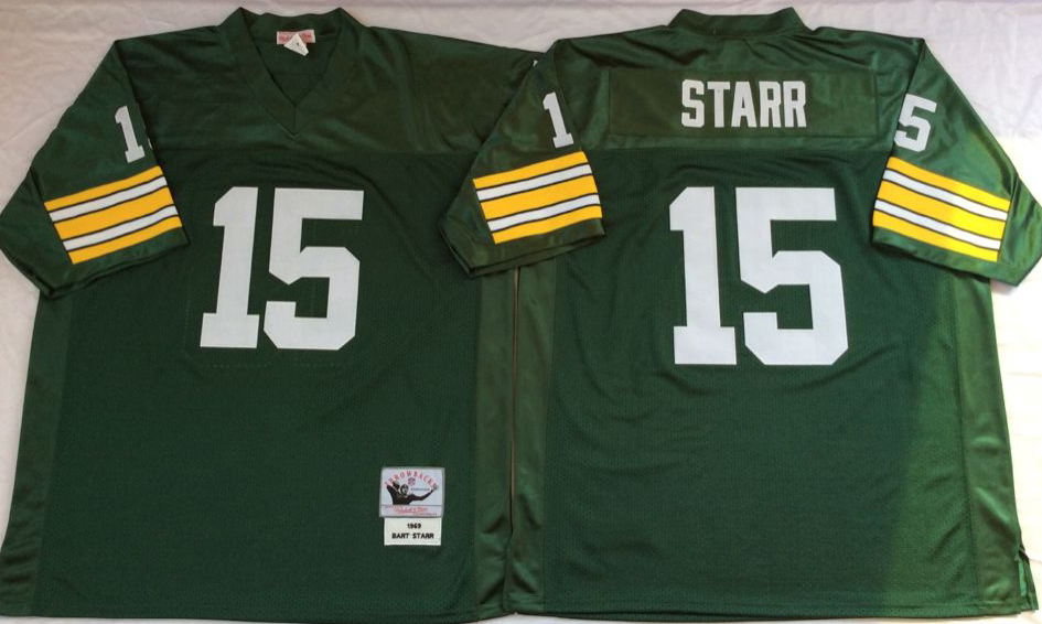 Packers 15 Bart Starr Green Throwback Jersey