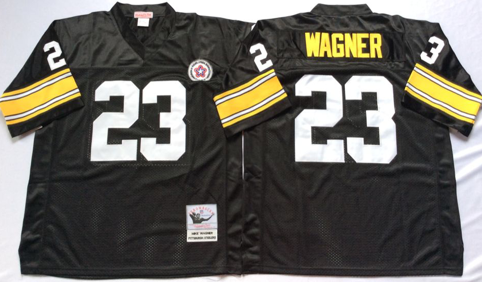 Steelers 23 Mike Wagner Black Throwback Jersey