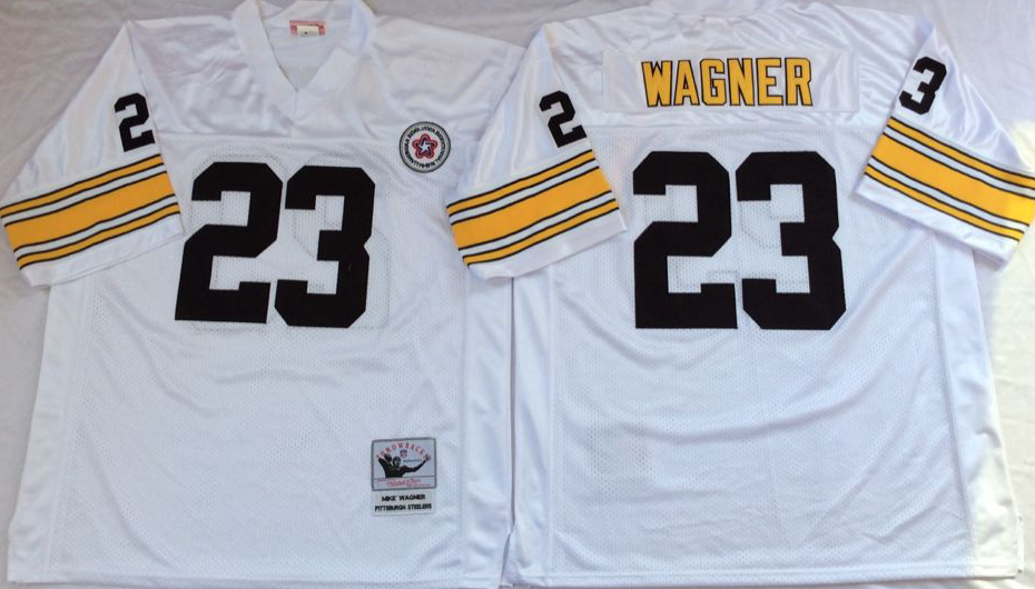 Steelers 23 Mike Wagner White Throwback Jersey