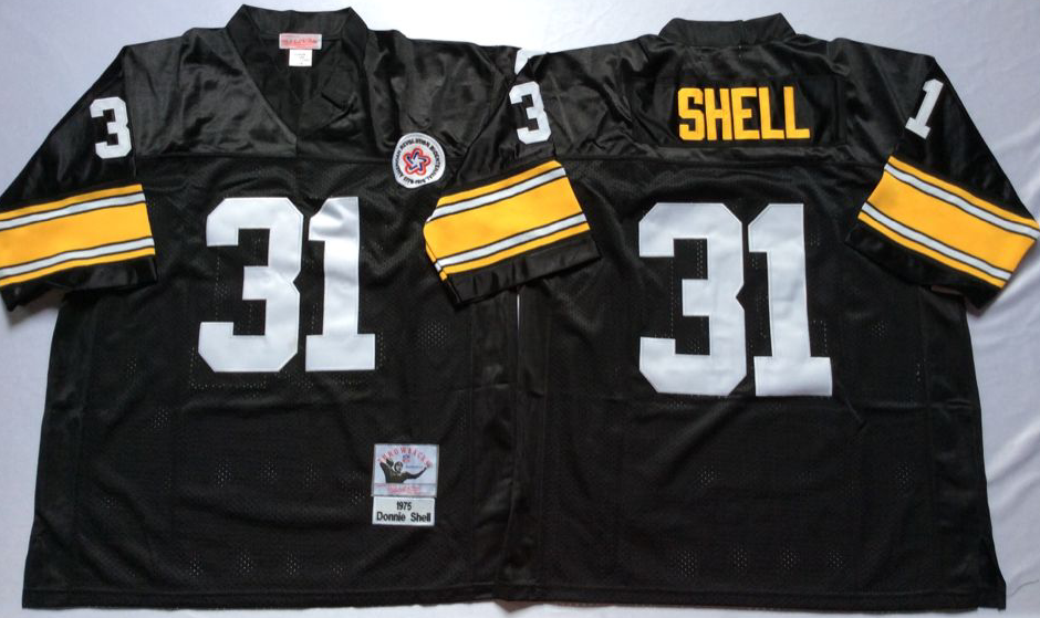 Steelers 31 Donnie Shell Black Throwback Jersey