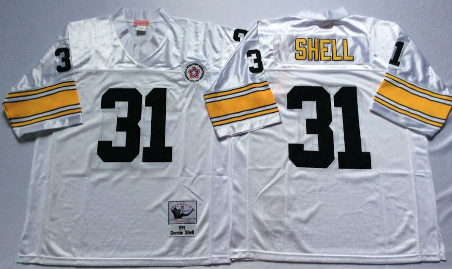 Steelers 31 Donnie Shell White Throwback Jersey
