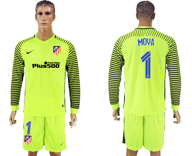 2016-17 Atletico Madrid 1 MOYA Goalkeeper Long Sleeve Soccer Jersey