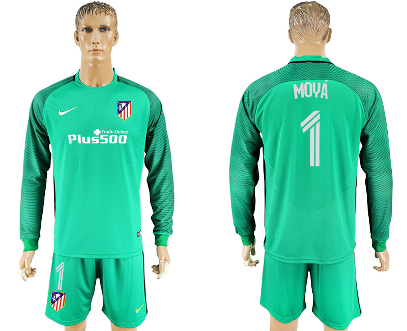 2016-17 Atletico Madrid 1 MOYA Green Goalkeeper Long Sleeve Soccer Jersey