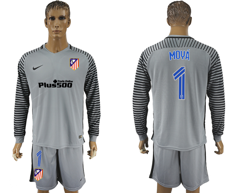 2016-17 Atletico Madrid 1 MOYA Grey Goalkeeper Long Sleeve Soccer Jersey