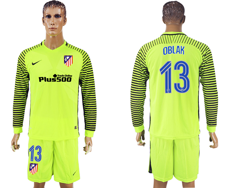 2016-17 Atletico Madrid 13 OBLAK Goalkeeper Long Sleeve Soccer Jersey