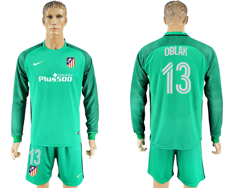2016-17 Atletico Madrid 13 OBLAK Green Goalkeeper Long Sleeve Soccer Jersey