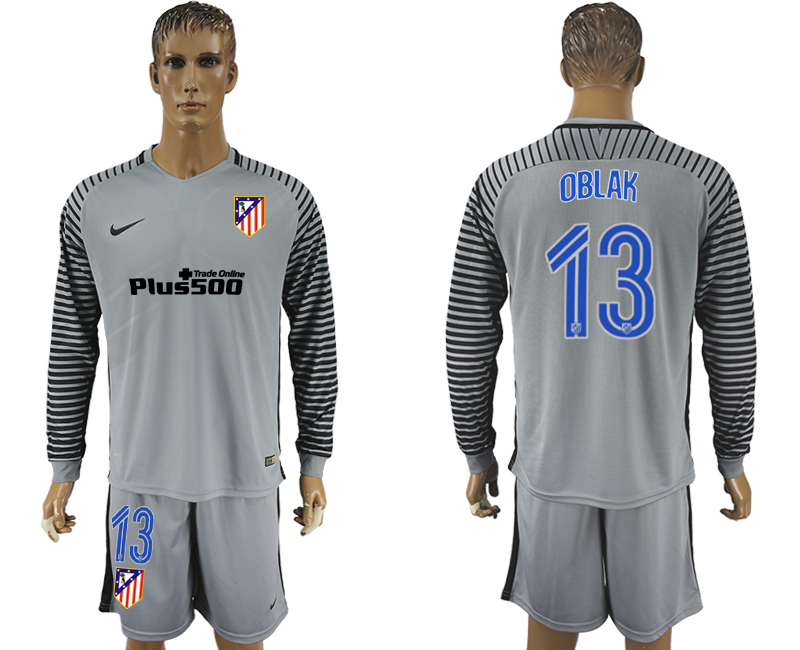 2016-17 Atletico Madrid 13 OBLAK Grey Goalkeeper Long Sleeve Soccer Jersey